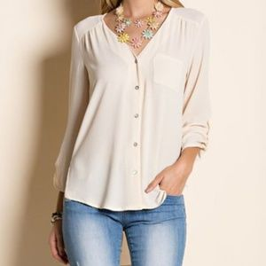 Tops - Ezra Cream Button-Up Top, Size: S